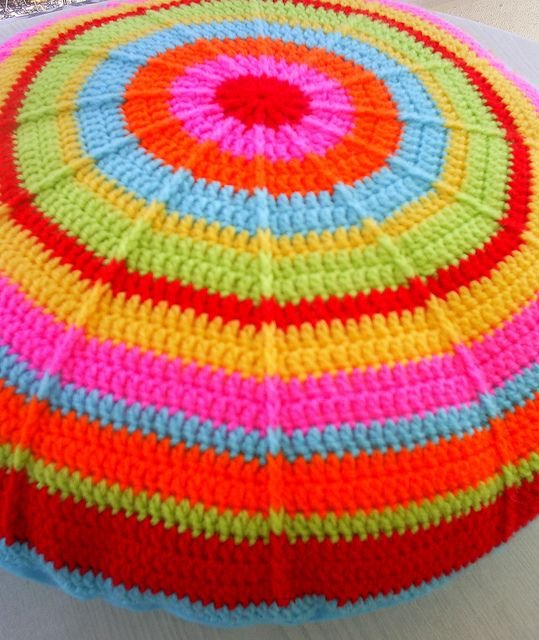 The round rainbow granny cushion