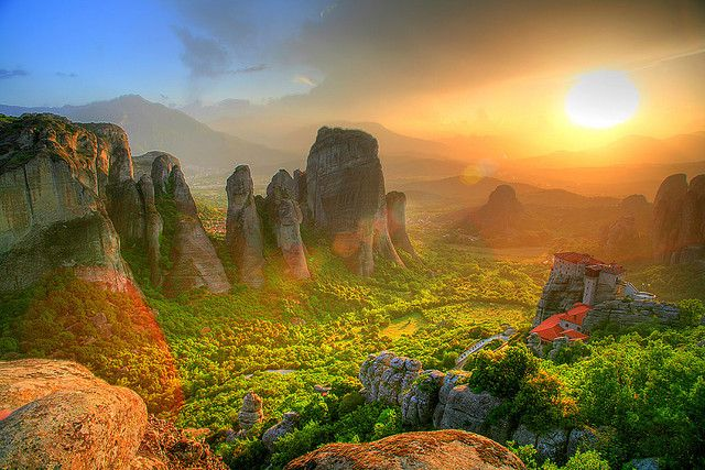 Sunset over the rocks of the Meteora complex of monasteries in Greece