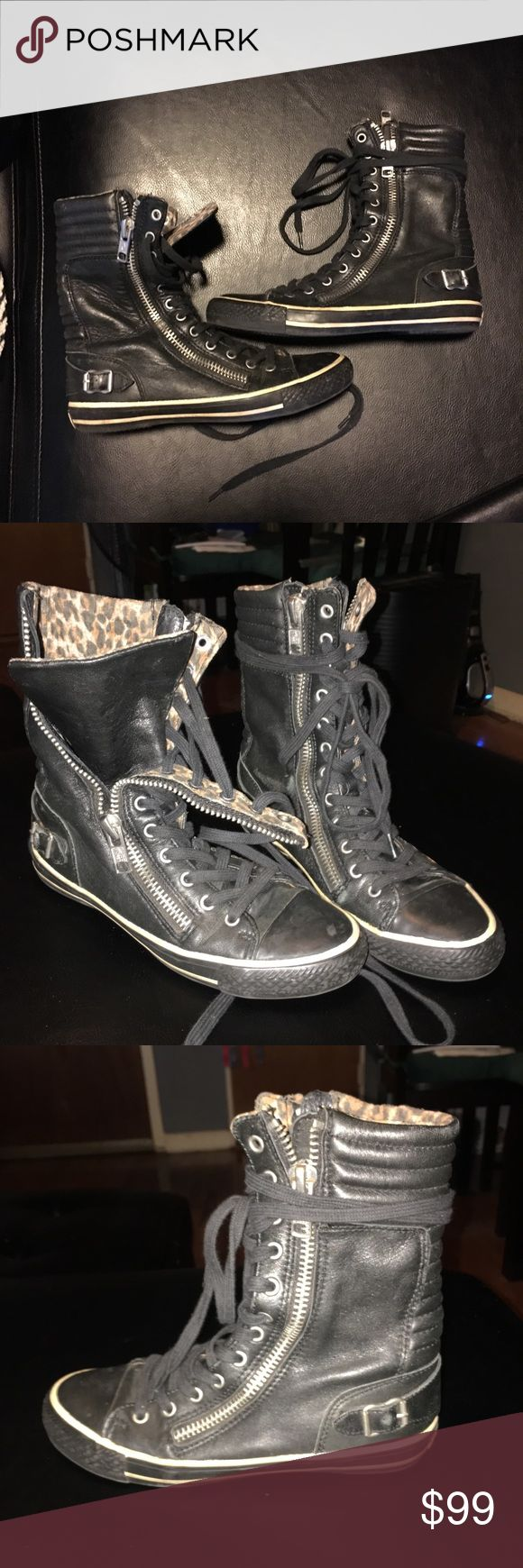 Ash Limited hightop sneakers size uk 37 USA 7 Ash limited hightop black leather. Only worn a few times great condition. Inside and outside zippers and stylish and hip. Leopard lining. Ash Shoes Sneakers
