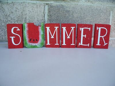 Summer blocks with watermelon from Sawdust Sanity