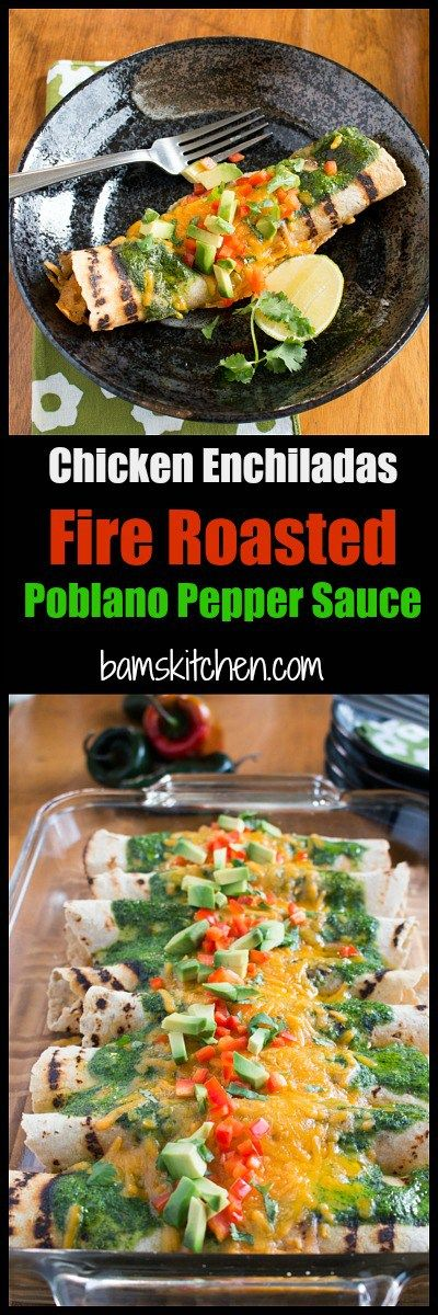 Chicken Enchiladas with Fire Roasted Poblano Peppers / DAIRY-FREE and GLUTEN-FREE OPTIONS/ BAKED with CREAMY POBLANO and SPINACH SAUCE/ http://bamskitchen.com