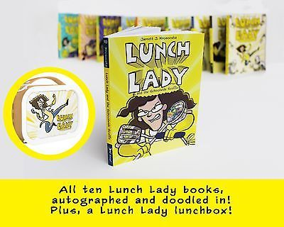 All 10 Lunch Lady books, autographed and doodled in. Plus, a Lunch Lady lunchbox!  All proceeds will connect kids with art courses at the Worcester Art Museum.  Learn more: http://www.studiojjk.com/joeandshirlscholarships.html
