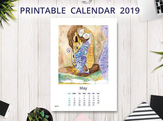 December 2019 Cat Calendar Printable 2019 Calendar PRINTABLE | Wall Calendar | Desk Calendar