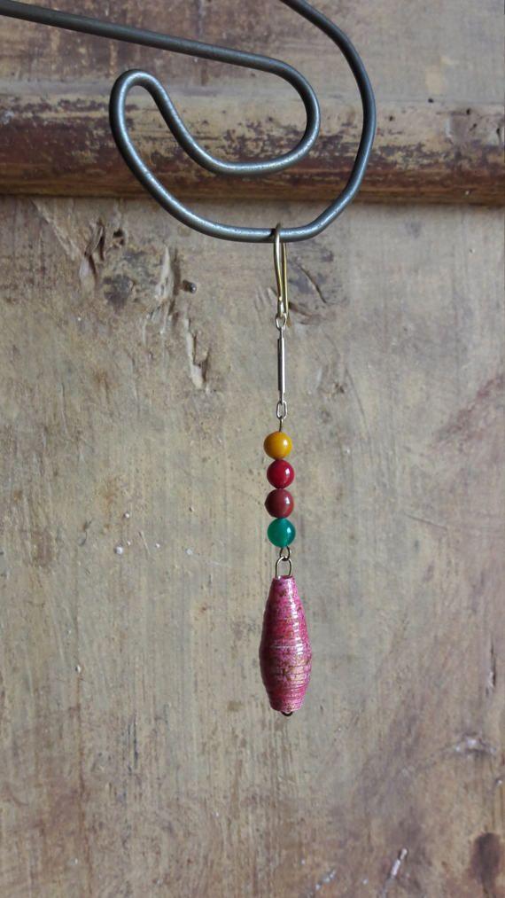 Colorfull earrings Handmade earrings Paper beads earrings