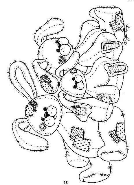 Patchwork Bunny Family