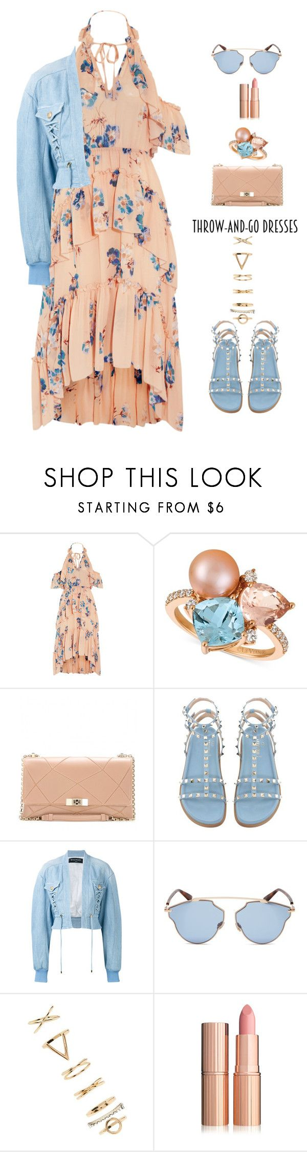 """""""throw and go dress"""" by katymill ❤ liked on Polyvore featuring Ulla Johnson, LE VIAN, Roger Vivier, Balmain, Christian Dior, Forever 21, dress, throwandgo and easydresses"""
