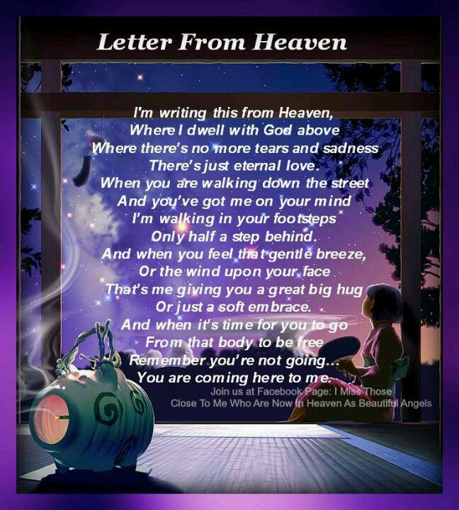 letter from heaven i will always love you mommy