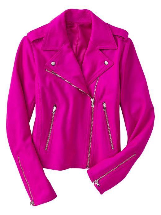 Bright wool moto jacket in vibrant fuchsia from gap