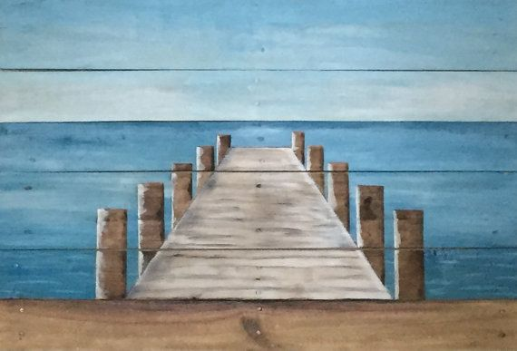 Pier at the Beach Painting on Reclaimed by ReClaimedPurposed