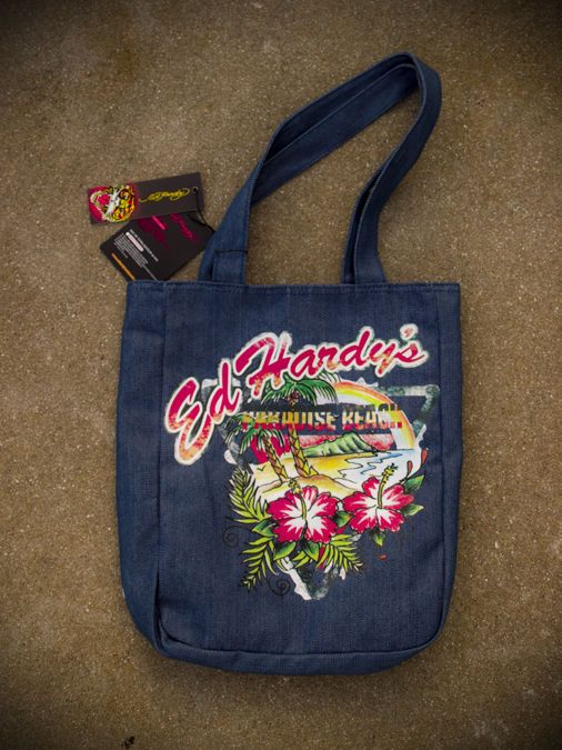 NWT Ed Hardy Denim Tote Paradise Beach Resort Summer Fun #EdHardy #TotesShoppers #beach #resort #summer #fashion #hipster #trend #denim #style