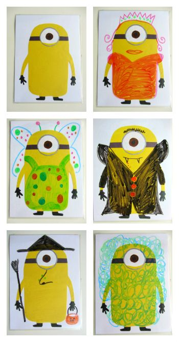 HALLOWEEN Dress up your Minion! Dry Erase Activity For Kids . - draw a minion to look like you/ draw a minion doing something you did this summer,etc.