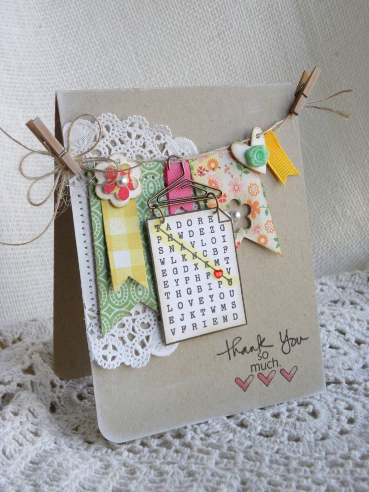 So glad you could join us again today for more inspiration using the 'Thanks Set'! I love this fun word search image that's included in the set... ...and I love all the little 'hanger' embellishme...