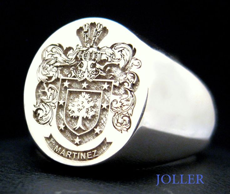 """Stamped - 925, JOLLER. Signet Head Shape - Large Oval 17mm x 14mm / 0.67"""" x 0.55"""". Very impressive Family Crest Signet Ring in Sterling Silver 925, closed shank with the perfect head height. Signet Collection. 