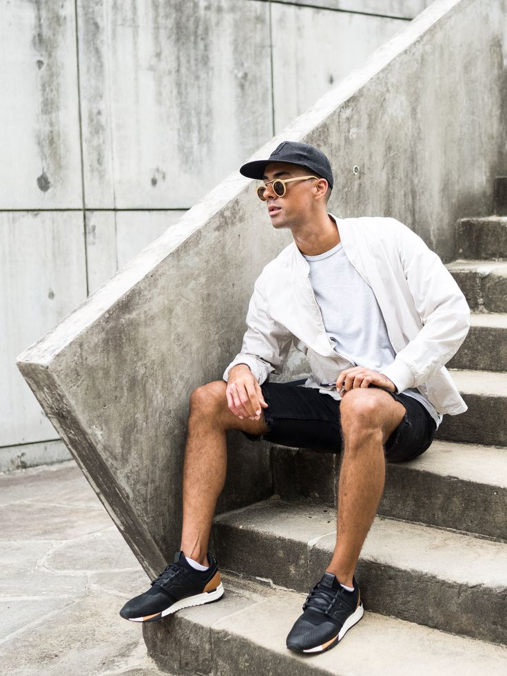 Mens Fashion Style & Outfit inspo by Blogger MR TURNER. New Balance 247 Luxe sneakers. Paired with Jac+ Jack bomber, COS tee, and homemade ripped Lee Jeans.