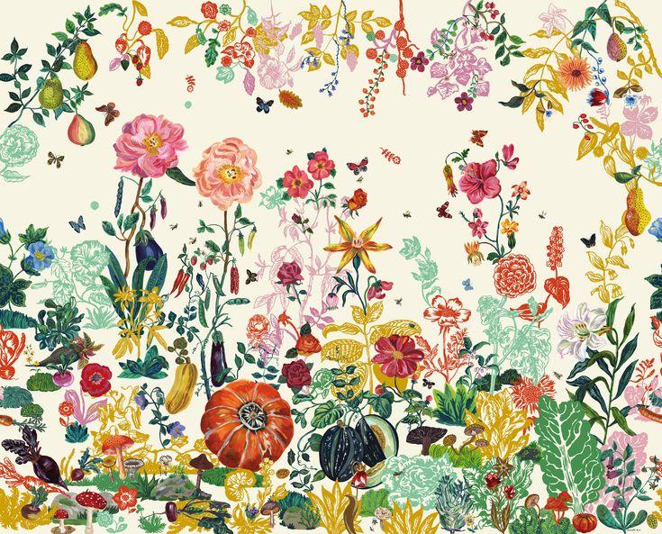 Jardin Wallpaper Cream garden by Domestic
