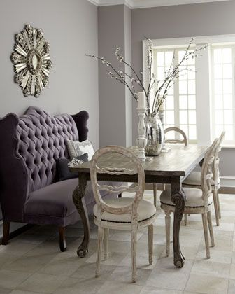 Isabella Wing Banquette, Liday Dining Table, & Swedish Side Chair at Horchow.