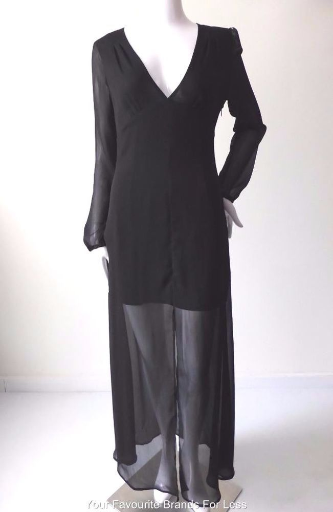 SPORTSGIRL Size 8 US 4  Long Sleeve Black Maxi Dress #Sportsgirl #MaxiDress