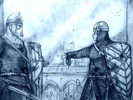 Vrouwelijke ridder geeft orders aan een soldaat.