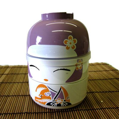 Kokeshi Bento Lunch Box, Purple
