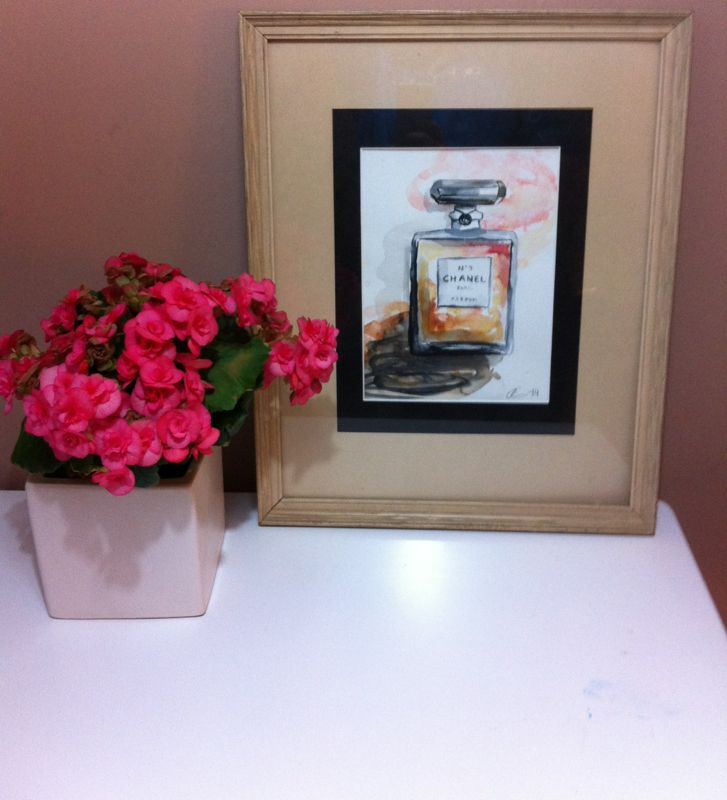 Aquarelle Chanel and lovely pink flowers <3