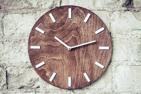 Wooden Clock 11 8 Rustic Wood Clock Wood Slice Art Mantle Clock Retro Wall Clock Modern Wall Clocks Farmhouse Wall Clock Brown Wall Clocks Clock Wall Decor Wall Clock Modern