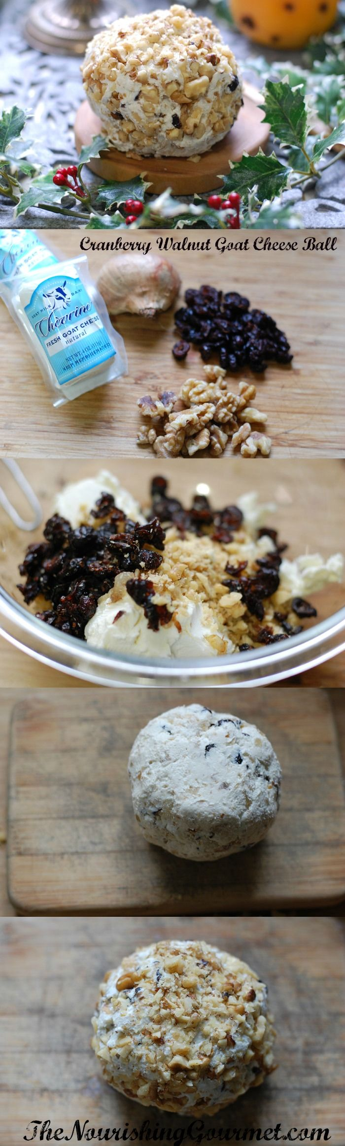 Cranberry Walnut Goat Cheese Ball Recipe- Perfect to serve at parties, as an appetizer, or to give away as a food gift! You can serve it with crackers of choice or crudites. It would be a beautiful addition to a cheese platter. -- The Nourishing Gourmet