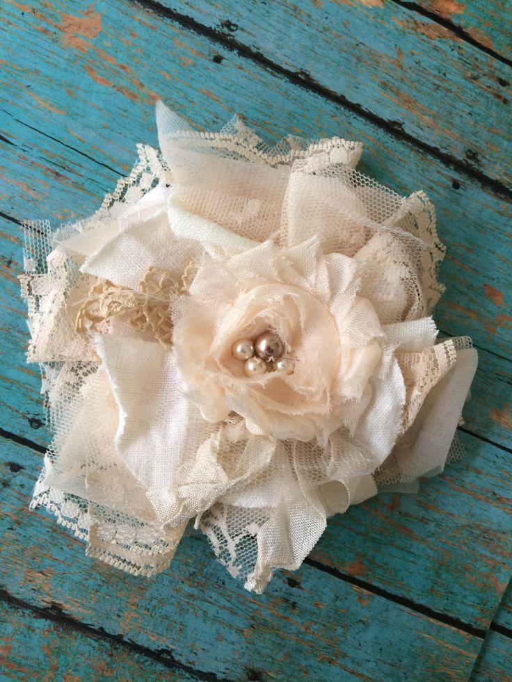 Peach and Ivory Fabric Flower Headband Blush by DolledandDazzled