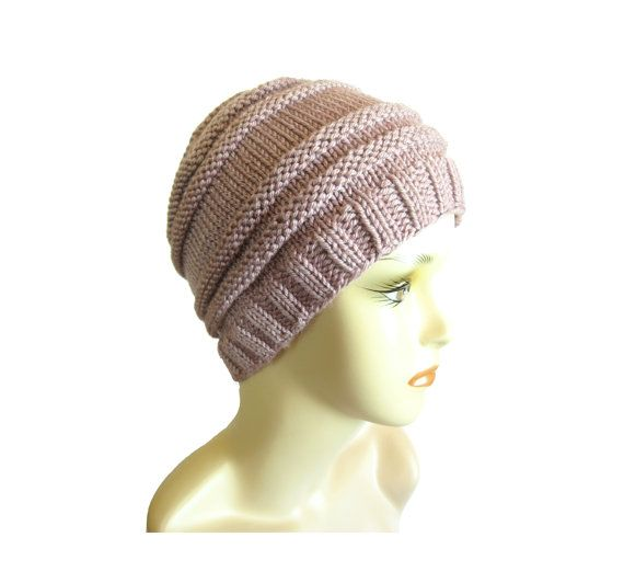 Pink Knit Hat Hand Knit Beanie Rib Knit Hat Winter by JKCJewelry