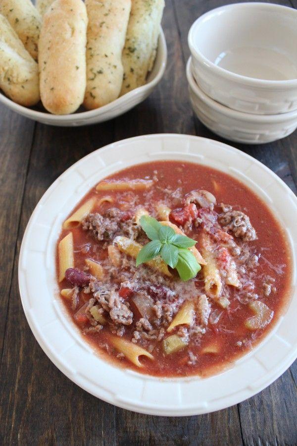 Slow Cooker Gluten Free Pasta Fagioli Soup #Recipe #GlutenFree #SlowCooker