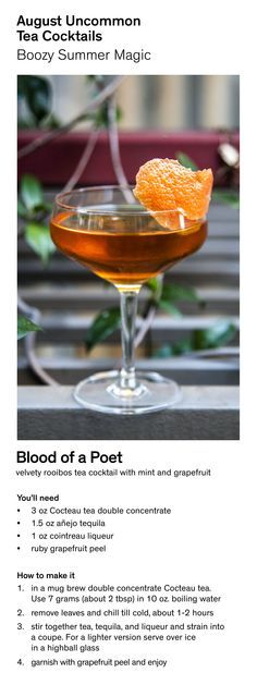 Make Blood of a Poet - an August Uncommon Tea Cocktail.