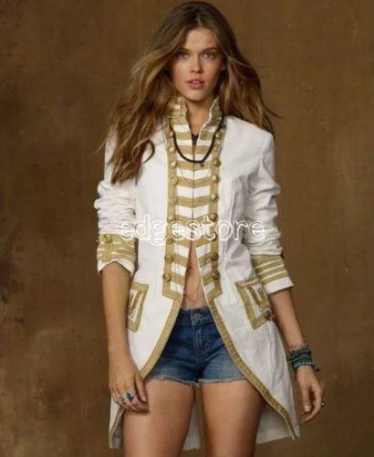Ralph-Lauren-Denim-Supply-Women-Military-Army-Officer-Canvas-Band-Jacket-Coats