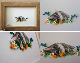 Kitten Art.  Pencil drawing with 3D quilled paper details. #quilliamcouk #kittens #cats #merseyetsyteam 3Dart #etsyuk #giftsforher
