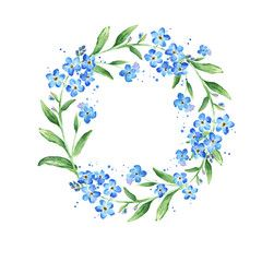 Ilustracja: Floral Forget-me-not flower round frame, watercolor illustration, copy space