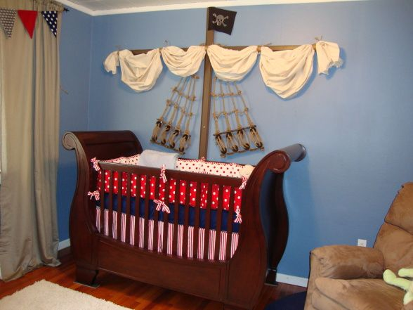 """Crib ship. Great for a """"Peter Pan, pirate, Neverland"""" nursery theme for a boy :) omg whenever i have kids i so want to do this , so awesome!!!! ;) arrr Me love. I LOVE the idea of a peter pan nursery!!! The crib fits well but I found my perfect crib!!"""