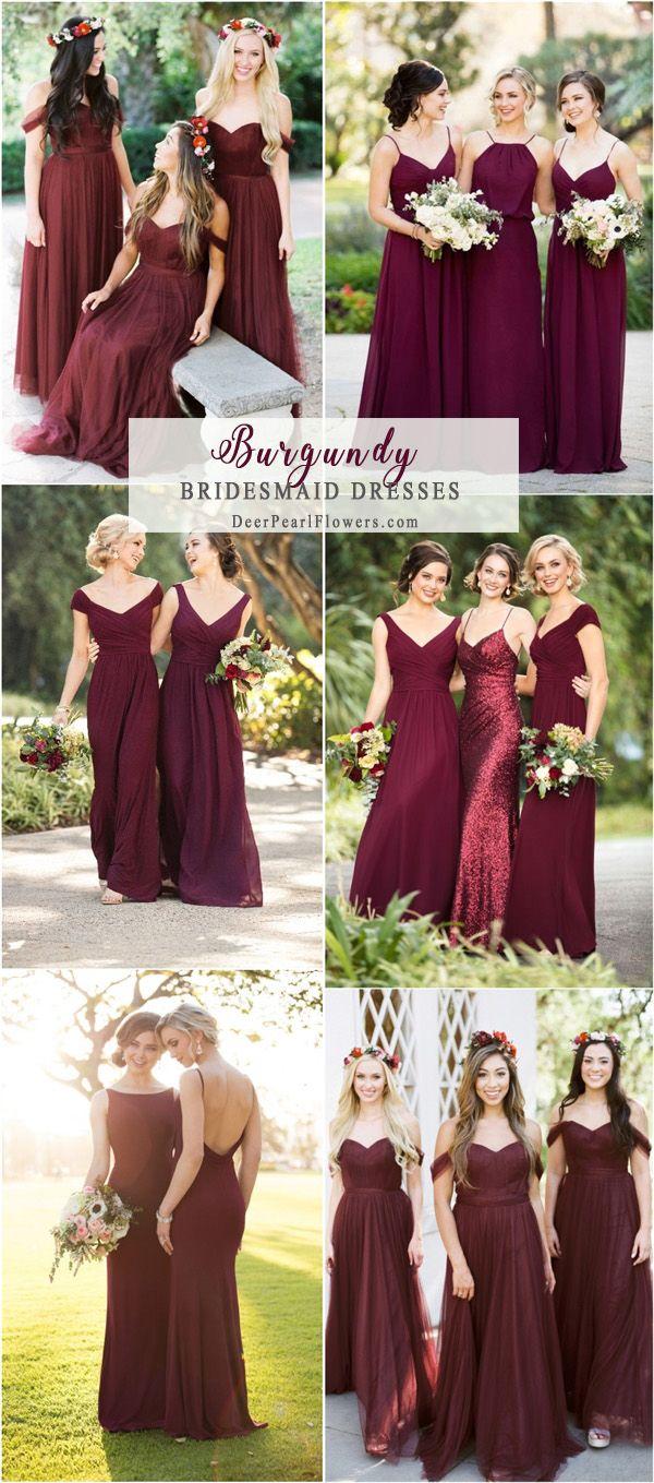 Burgundy long bridesmaid dresses
