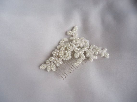 Petite and Beautiful! Pearls and lace ivory bridal hairpiece. A hand beaded elegant hairpiece for your special day! -Materials: Lace, pearls