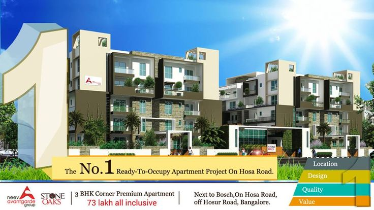 Our homes have everything for the home buyer. We take great pride in showcasing StoneOaks as the No.1 Ready-To-Move-In Residential Apartment Project on Hosa Road, Located Just 15 Mins from Electronics City. Don't take our word for it; Make a Site Visit. Call: +91 76760 09999, http://neevavantgarde.com/stone-oaks  #hosaroad #stoneoaks #apartments #bangaloreapartment #builders