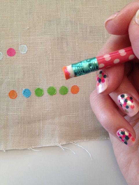 dots by Hillary Lang,Pencil Erase, Crafts Ideas, Diy Fabrics, Hillary Lang, Fabrics Crafts, Dots, Diy Kids, Fabrics Art, Crafty Ideas