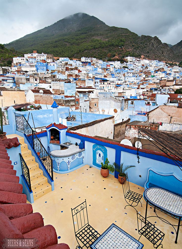 A unique view of Chefchaouen, the blue-walled city of Morocco! I want to go! Photo and blog post by http://beersandbeans.com, my favorite place to oooh and aaah over gorgeous photos of places I have never been too!