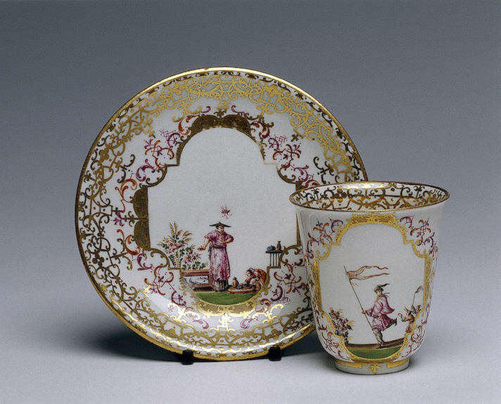 Chocolate Cup and Saucer  Irminger, J.J. (model); Heintze, J.G. (painting).  Germany, Meissen. Circa 1715-1730 Porcelain; overglaze painting with gilding. H. 8 cm, diam. 7.5 cm (cup); diam. 14 cm (saucer)  The State Hermitage Museum
