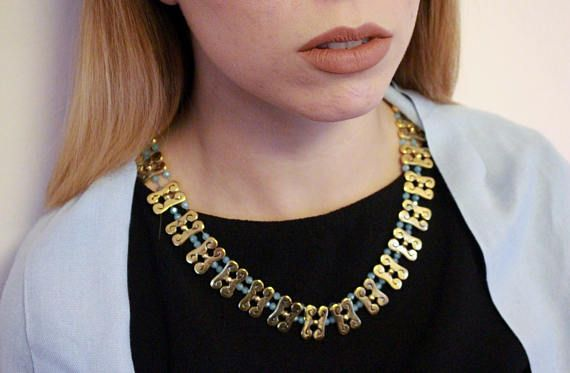 Handmade Gold Plated Choker Necklace One of a kind gift