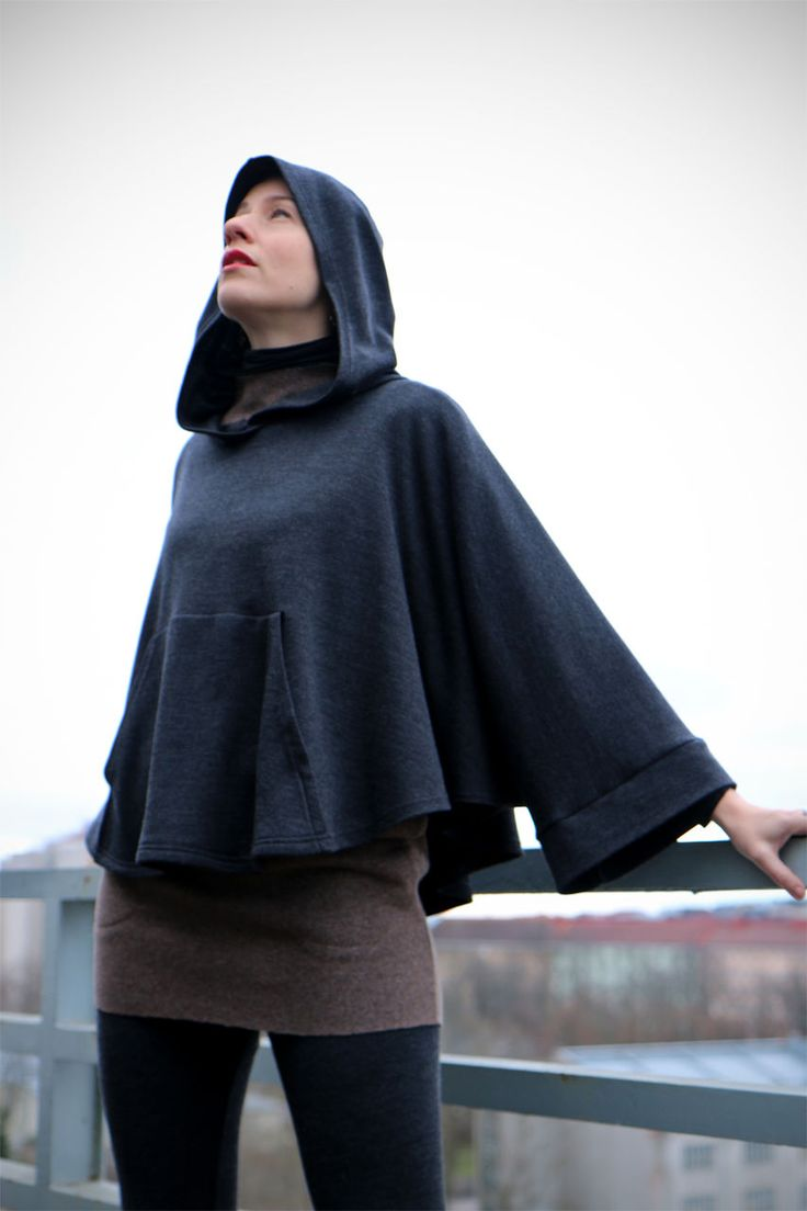 Wool Hoodie poncho by Vietto