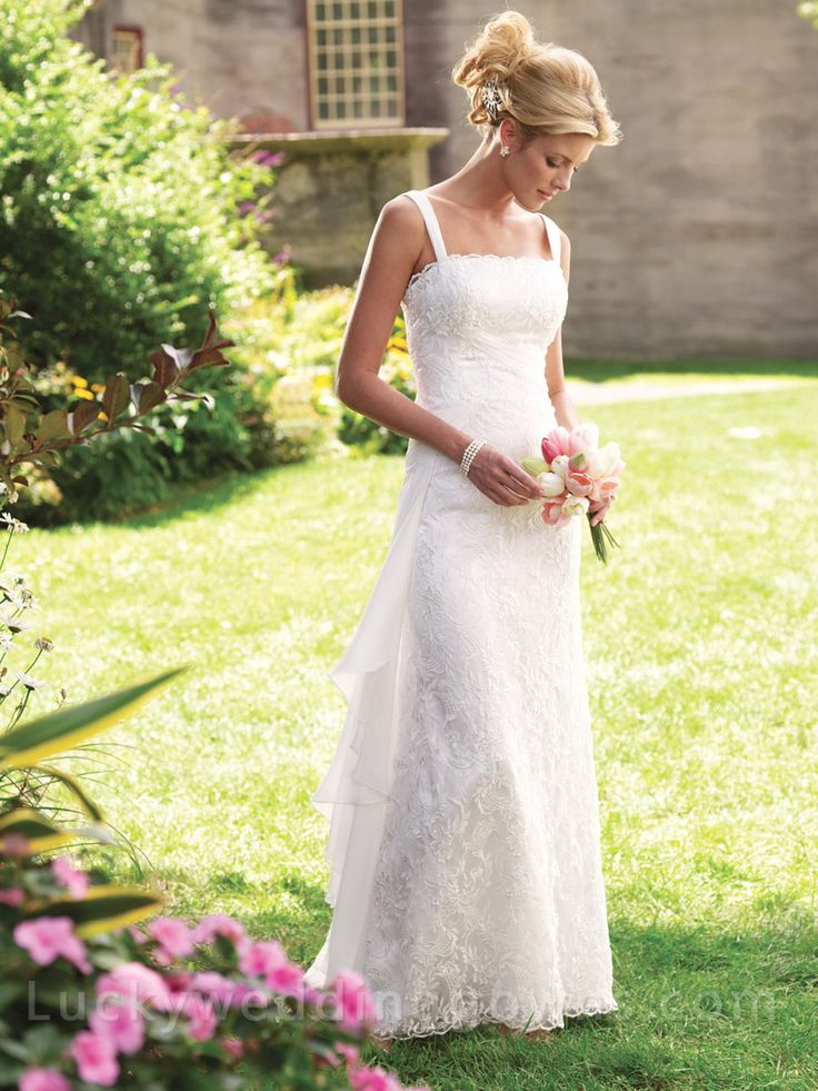 Sleeveless Lace and Chiffon Wedding Gown with Ruched Shoulder Straps