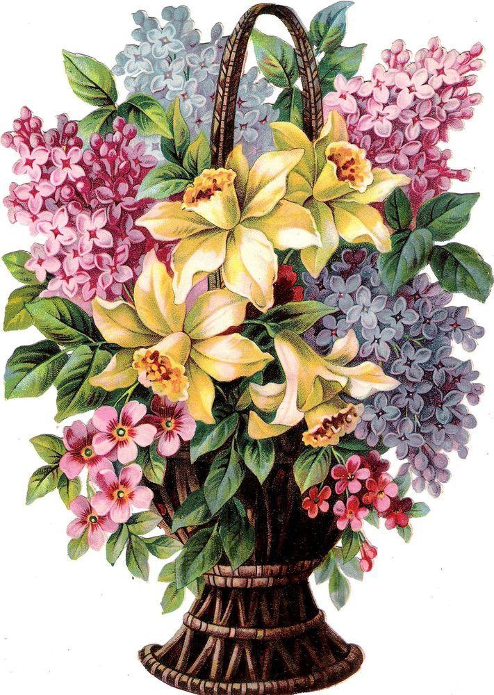Oblaten Glanzbild scrap die cut chromo Blumen Korb 24cm Flieder lilac fleur