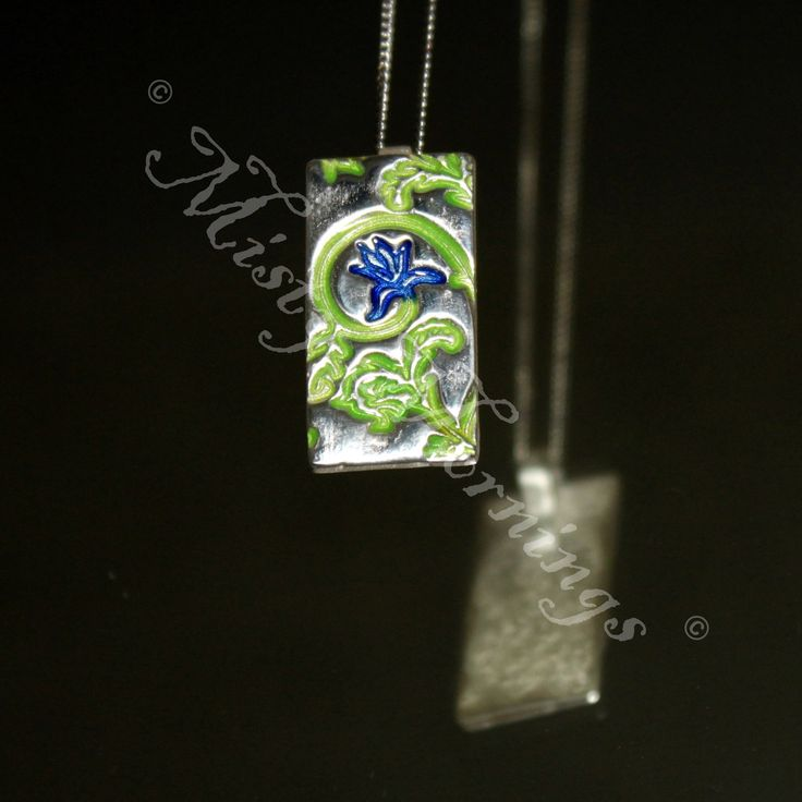 Solid silver pendant with enamelled greenery and flower www.facebook.com/MistyMornings