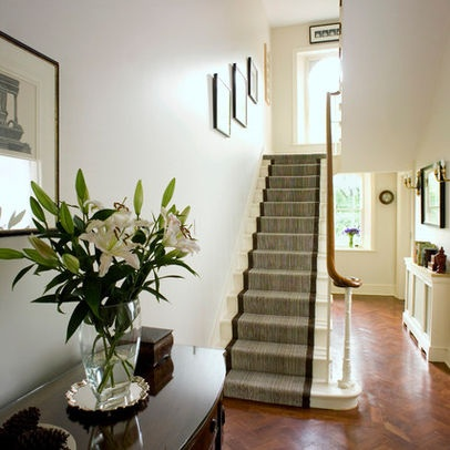 Stair runner carpet and white stairs - seems wider