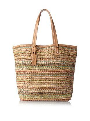 53% OFF Yosi Samra Women's Ezra Basket Weave Tote, Natural/Multi