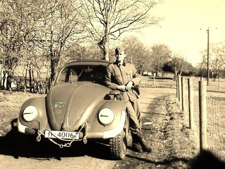 """A Waffen-SS Kdf-Wagen (Volkswagen) """"Käfer"""" (""""beetle""""). Note the SS registration plate."""