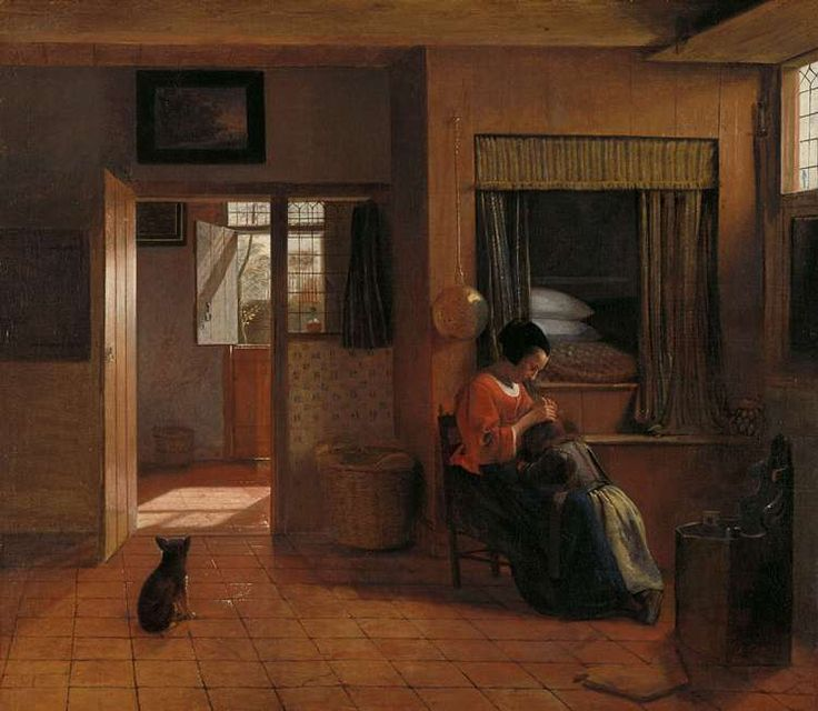 mother's task, pieter de hooch - Google Search Mother picking lice from her child's head