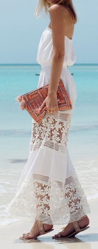 White Crochet Detail Summer Strapless Maxi Dress